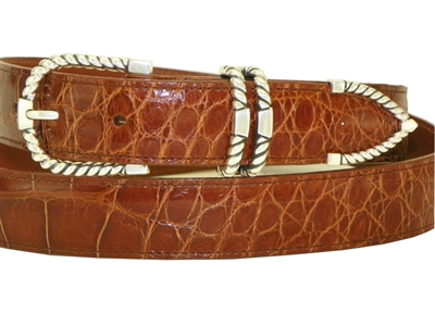 Alligator Belt 1 3/16 with Sterling Silver Tucson Buckle Set