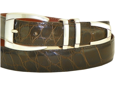 Alligator Belt 1 3/16 with Sterling Silver Sierra-Vista Buckle Set