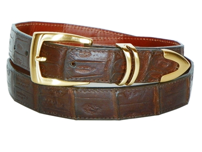 Crocodile Belt 1 3/16 with Scottsdale Gold Plated Buckle Set