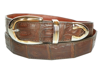 Crocodile Belt 1 3/16 with Palm Springs Buckle Set
