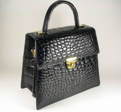 Black Alligator Madison Ave. Handbag