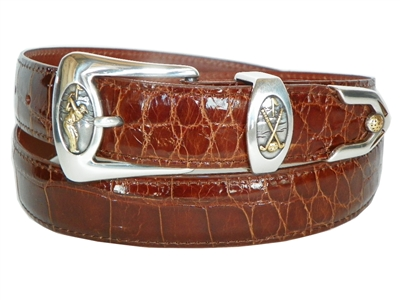 Alligator Belt 1 3/16 with Golf Perfect Swing Buckle Set