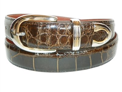Alligator Belt 1 3/16 with Palm Springs Buckle Set