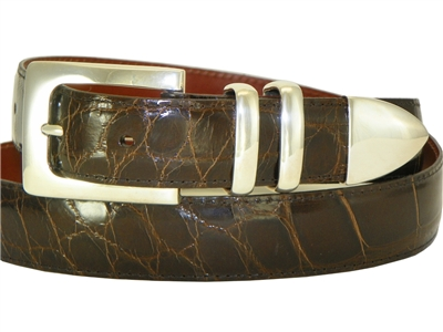 Alligator Belt 1 3/16 with Sterling Silver Manhattan Buckle Set