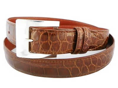 Alligator Belt 1 3/16 with Sterling Silver Catalina Buckle