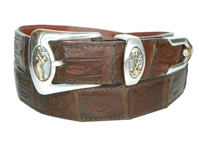 Crocodile Belt 1 3/16 with Golf Perfect Swing Buckle Set